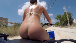 PUBLIC QUAD BIKE DILDO FUCK! XXX  risky sex risky public nudity big ass naked exebitionist bouncing boobs outdoor public hardcore risky dildo bike big ass bouncing pussy stretching outdoor amateur getting caught public masturbation huge dildo