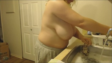Topless Washing Dishes