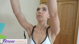 Preview 1 of Fitness Rooms Young athletic yoga beauty in lycra shorts fucked by gym hunk