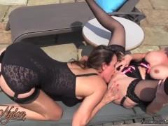 Milf in nylons lingerie licks fucks busty blonde lesbian wet pussy poolside