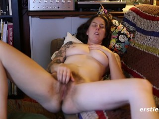 Susie Works Her Hairy Pussy to Orgasm - ersties