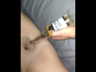 cum on pussy after crazy sex with slut beer bottle pt1