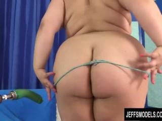Chubby Slut Simone Debu Fucks a Dildo Machine and Cums Like a Freight Train