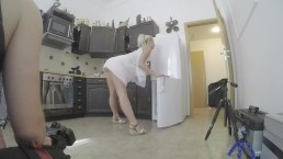 upskirt no panties kitchen check