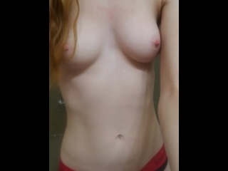 Redhead Teen Exhibitionist Cums in the Shower