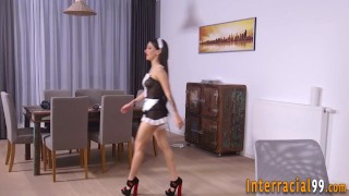 Maid gapes ass for bbc
