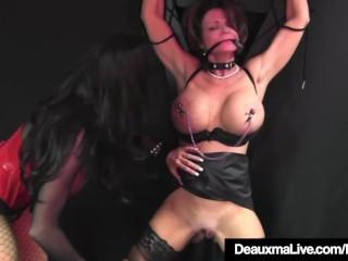Caged Cougar Deauxma Beaten By Beautiful Busty Louise Jenson