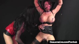 Caged Cougar Deauxma Beaten By Beautiful Busty Louise Jenson