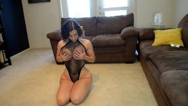 Hunk fucks Big Tits chick in Fishnet bodysuit