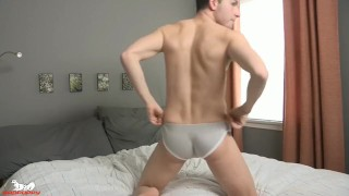 Luke Kennedy's cock is rock-hard & pointing straight out