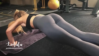 Workout w/ LeoLulu Turns to a Hard Fuck in the Gym's Toilets - Amateur Brunette blonde