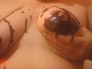 Ftm chocolate sauce on tits