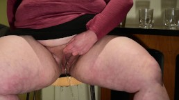 Dirty BBW Takes a Pee on a Bar Stool