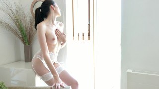 Intense fuck in hot lingerie till orgasm with his curved dick - 4k Point latin
