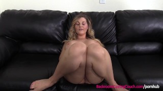 First Time Anal For Big Tits Blonde MILF on Casting Couch Boobs lesbian