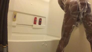 Alexs Soapy Shower ends Cummy (close up)