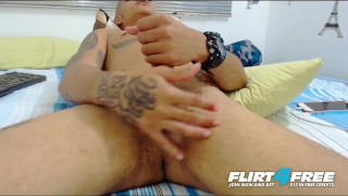 Jean Brush on Flirt4Free - Sexy Latino Twink Plays with Ass and Huge Cock Made home