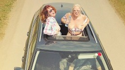 Two Sexy Hitchhiker Girls Fun Car Ride Paid by Foursome Orgy Ginger View 4K