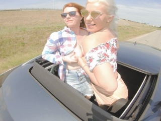 Two Sexy Hitchhiker Girls Fun Car Ride Paid by foursome Orgy Kate Truu view