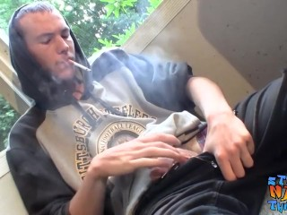 Preview 1 of Homosexual thug takes a smoke outdoors and jacks off