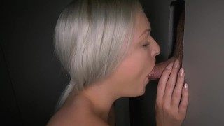Hot Blonde Gloryhole  interracial ghs slut cum swallow bbc outside public gloryhole gloryholeswallow fucking