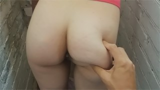 Fucking on the stairs from amateur slave wife - Fast Doggystyle POV part 2