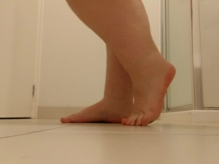 Showing off my feet and walking around