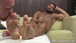 Ginger stud licks friends feet and toes and gets a facial