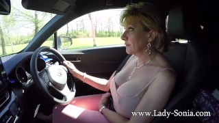 Mature her tits plays lady driving blonde sonia with while granny milf