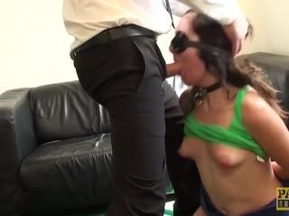 Blindfolded sub Liz Rainbow choked and destroyed by Pascal