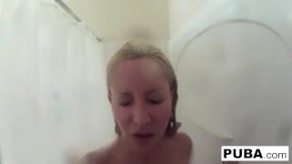 Helly big tattooed shower long milf tittied hellfire takes a sexy shaving