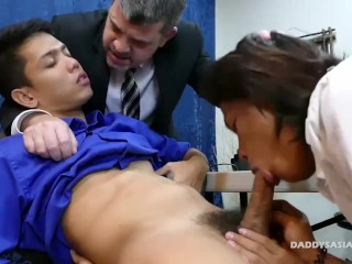 Daddy and Asian Twink Office Threesome