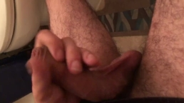 Playing with my thick uncut cock