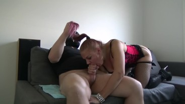 Sucking my Sugar Daddy's fat cock till he cums in my mouth