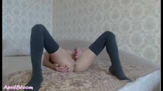 Perfect Teen 18yo Plays with a Huge Glass Dildo and has a Shaking Orgasm Girl leather