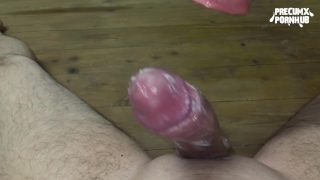 Masturbating with homemade Fleshlight causes huge cumshot