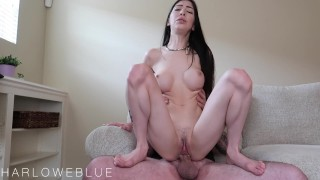 Little Spinner Gets Creampied In Rough Fuck On The Couch
