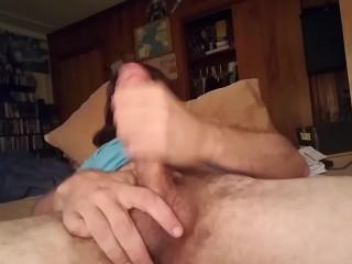 Long haired beardboy cums