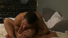 Deviant homosexual licks his socks and sucks his toes