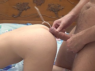 Unhurried sex with a young brunette before bedtime