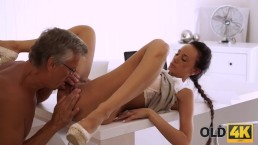 OLD4K. Secretary and old dad interrupted work to have sex in office