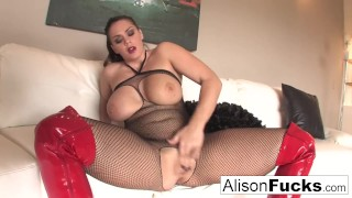 For jerk her alison tyler your makes you meat fishnets tits
