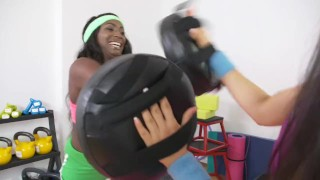 Fitness Rooms Interracial lesbians get a sweat on