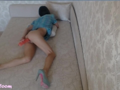 Teen in High Heels Plays with a Big Dildo and Cum while Fingering her Ass