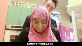 FamilyStrokes - Busty Chick Rides Fat Cock In Hijab Doggystyle ebony