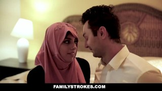 FamilyStrokes - Busty Chick Rides Fat Cock In Hijab Rough euro