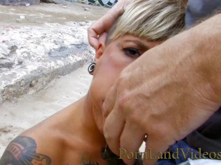 young blonde Baby sucking deepthroat and squirting on public beach