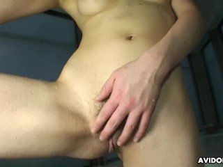 Akari squirts as she rubs her pussy and cums real strong