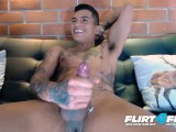 Thony King on Flirt4Free – Tatted Toned Latin Stud Tugs Big Cock Two Hands