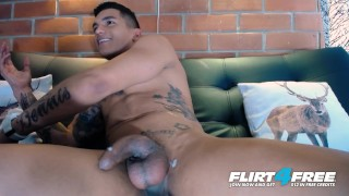 Thony King on Flirt4Free - Tatted Toned Latin Stud Tugs Big Cock Two Hands Orgasm loud